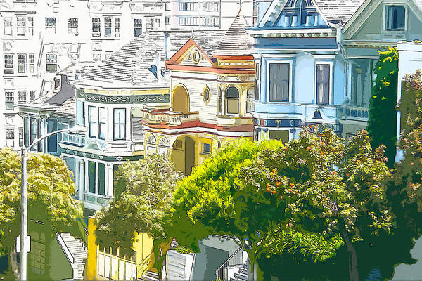 Digital Art - Victorian Painted Ladies Houses In San Francisco California by Anthony Murphy