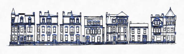 Old Town Digital Art - Victorian Row Houses by Edward Fielding