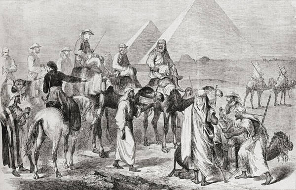 Wall Art - Drawing - Victorian Tourists At The Pyramids by Vintage Design Pics