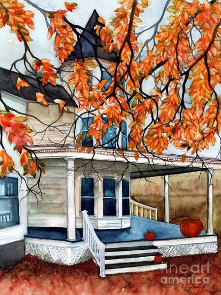 Porch Painting - Victoria's Pumpkin Porch - Halloween House by Janine Riley