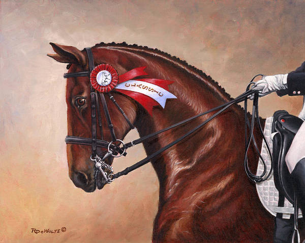 Dressage Wall Art - Painting - Victorious by Richard De Wolfe