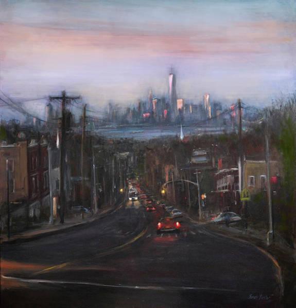 Manhattan Skyline Painting - Victory Boulevard At Dusk by Sarah Yuster