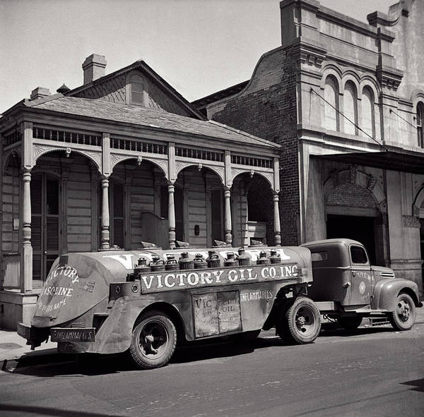 Wall Art - Photograph - Victory Oil Company Delivery Truck - New Orleans 1943 by Daniel Hagerman