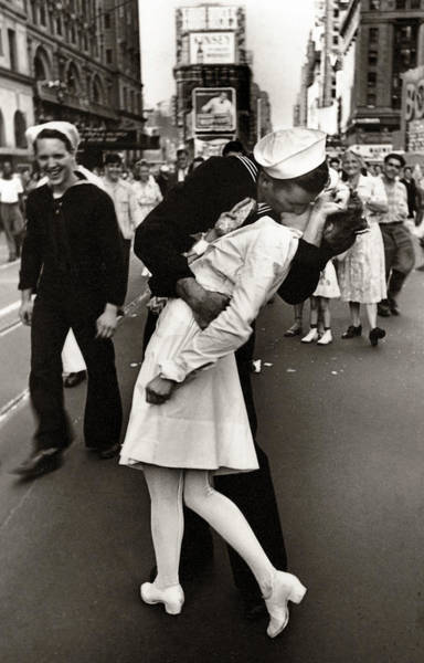 Wall Art - Photograph - Victory Over Japan Times Square Kiss  1945 by Daniel Hagerman