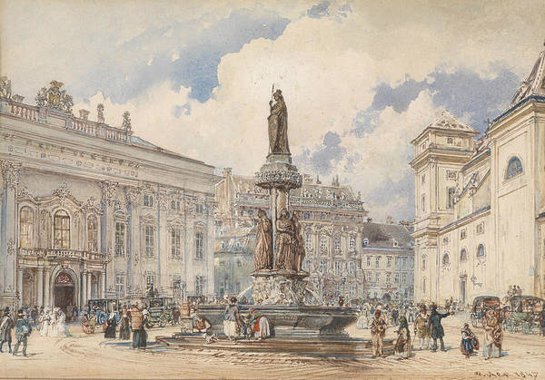 Vienna Painting - Vienna, Freyung With Austria Fountains by Rudolf von Alt