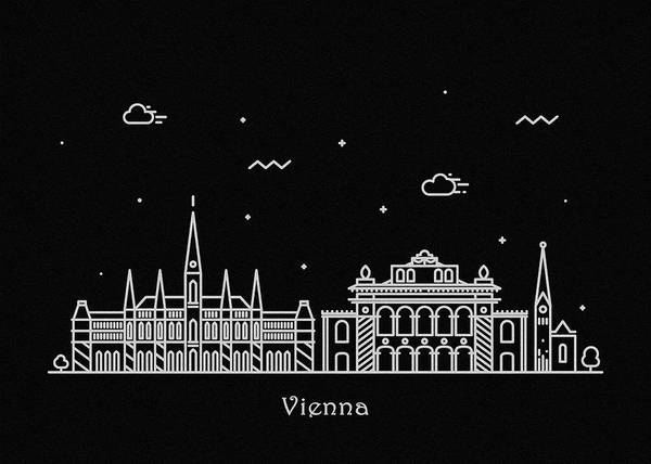 Monument Drawing - Vienna Skyline Travel Poster by Inspirowl Design