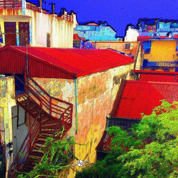 Back Door Painting - Vietnam Back Alley Painting Blue Sky by Tony Rubino