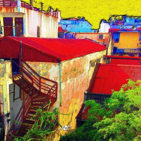 Back Door Painting - Vietnam Back Alley Painting Yellow Sky by Tony Rubino