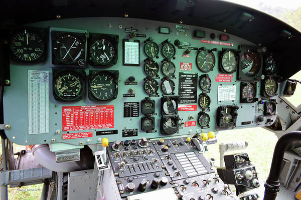Copter Photograph - Vietnam Era Helicopter 049 Control Panel 02 by Thomas Woolworth