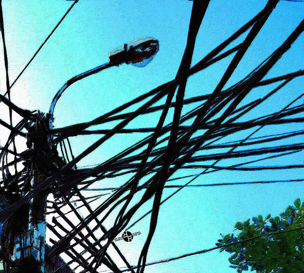 Utility Painting - Vietnam Telephone Wires Painting 1 by Tony Rubino