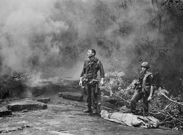 Wall Art - Photograph - Vietnam War. Two American Gis Standing by Everett