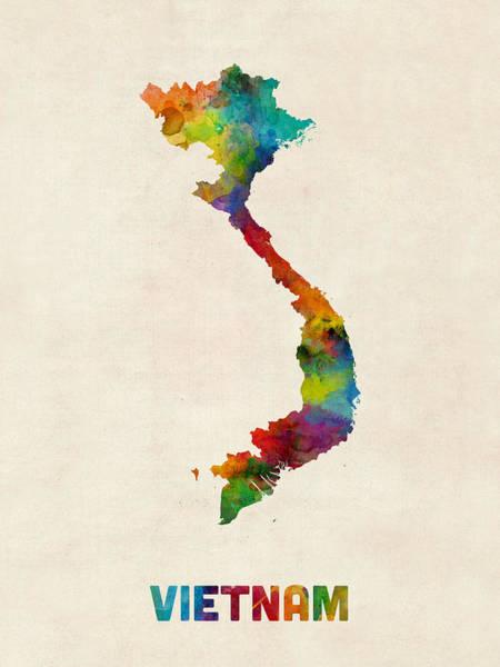 Vietnam Wall Art - Digital Art - Vietnam Watercolor Map by Michael Tompsett