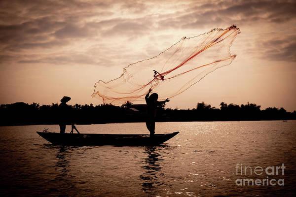 Quang Nam Province Photograph - Vietnamese Fishermen Casting Net by Lisa Top