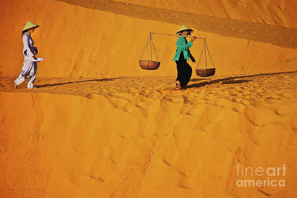 Photograph - Vietnamese Woman At The Red Sand Dunes In Mui Ne, Vietnam, Southeast Asia by Sam Antonio Photography