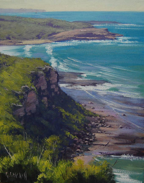 Oil Paints Painting - View Across Frazer Beach  Nsw Australia by Graham Gercken