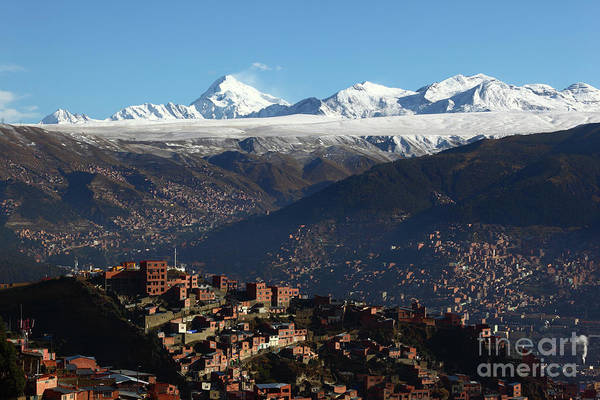 Photograph - View Across La Paz To The Cordillera Real Mountains Bolivia by James Brunker