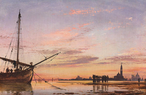 Sunset Art Wall Art - Painting - View Across The Lagoon, Venice, Sunset by Edward William Cooke