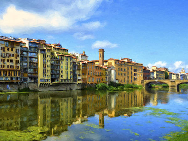 Painting - View Across The River Arno by Dominic Piperata