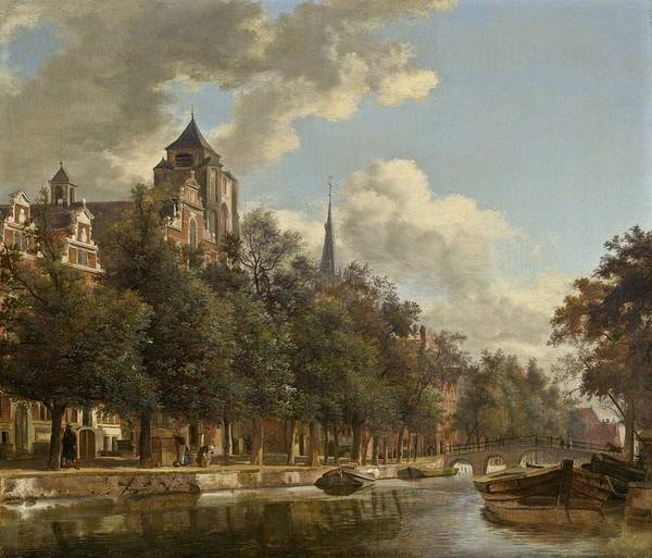 Wall Art - Painting - View Down A Dutch Canal by Jan Van Der Heyden