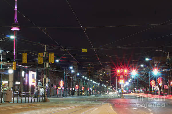 Wall Art - Photograph - View Down Spadina Ave At Night. An by Will Burwell