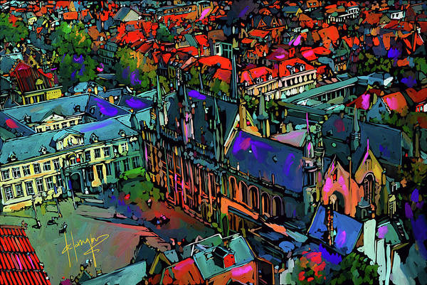 Painting - View From Clock Tower, Bruges, Blegium by DC Langer