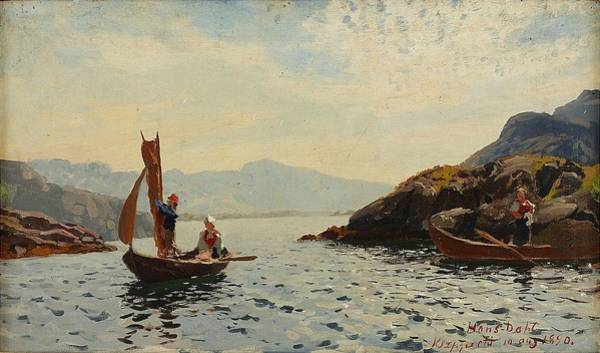 Wall Art - Painting - View From Kleppesto by Hans Dahl