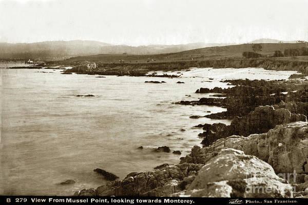 Photograph - View From Mussel Point, New Monterey Looking Towards Monterey 1880 by California Views Archives Mr Pat Hathaway Archives