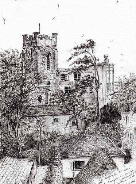 Structure Drawing - View From St Catherines School Ventnor by Vincent Alexander Booth