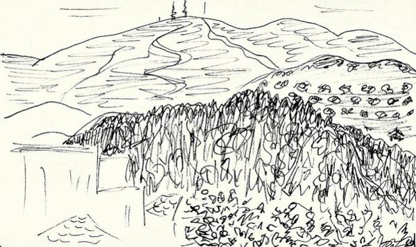 Balneario Wall Art - Drawing - View From The Hotel Room In Lanjaron by Chani Demuijlder