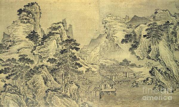 Screen Painting - View From The Keyin Pavilion On Paradise - Baojie Mountain by Wang Wen