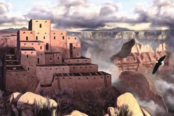 Pray For Love Wall Art - Painting - View From The Rim by Ron Chambers