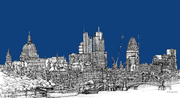 Pen And Ink Mixed Media - View From The Southbank With Summer Blue Skies by Adendorff Design