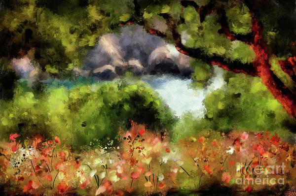 Digital Art - View From The Terrace - Paleokastritsa  by Lois Bryan