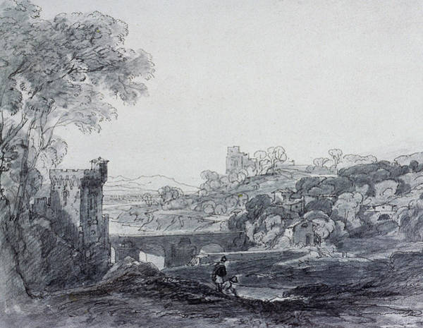 Ink Sketch Photograph - View In Italy by Sir Augustus Wall Callcott