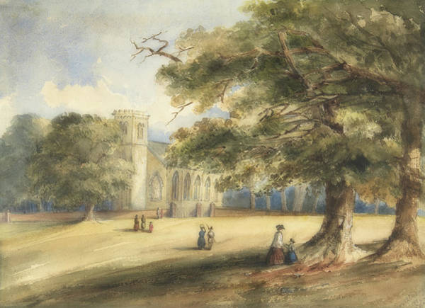 Church Yard Painting - View Of A Churchyard, Southborough, Kent by Anonymous