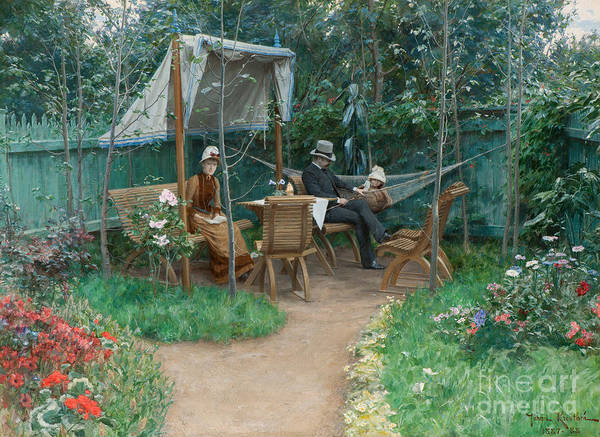 Victorian Era Painting - View Of A Garden, Linkoping by Johan Fredrik Krouthen