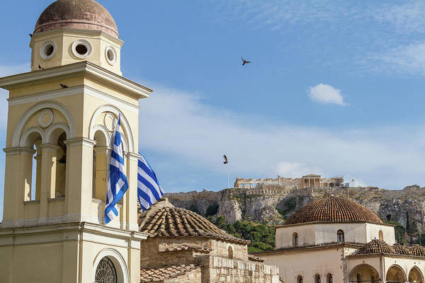 Wall Art - Photograph - View Of Acropolisfrom Monastiraki Square As Pigeons Fly By by Iordanis Pallikaras