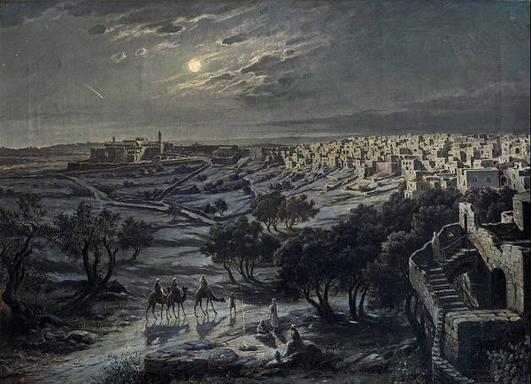 Star Of Bethlehem Painting - View Of Bethlehem At Night by Josef Langl