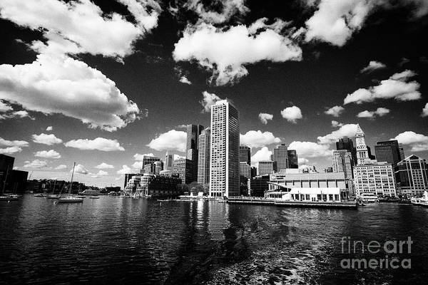 Wall Art - Photograph - View Of Boston Waterfront Harbour Including Aquarium Harbor Towers Custom House Tower And Rowes Whar by Joe Fox