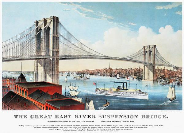 Painting - View Of Brooklyn Bridge by Granger