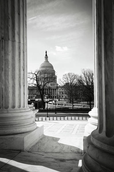 Photograph - View Of Capitol Hill Through The Supreme Court by Brandon Bourdages
