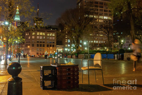 Photograph - View Of Chess Board In The Middle Of Busy Sidewalk At Night by PorqueNo Studios