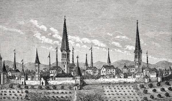Wall Art - Drawing - View Of Dortmund In 16th Century From by Vintage Design Pics