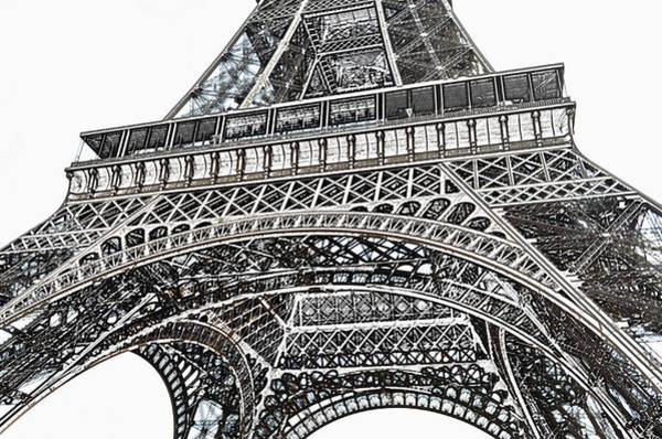 Deck Digital Art - View Of Eiffel Tower First Floor Deck Paris France Colored Pencil Digital Art by Shawn O'Brien