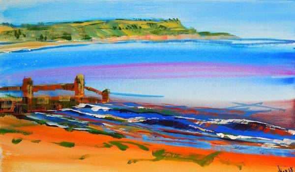 Painting - View Of Exmouth From Dawlish Warren Beach by Mike Jory