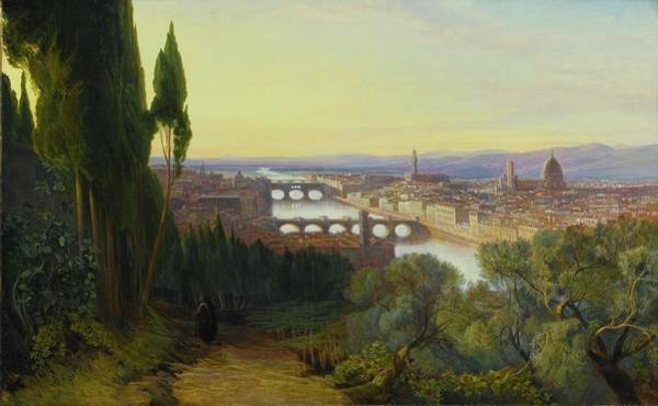 San Miniato Painting - View Of Florence From Villa San Firenze by Edward Lear