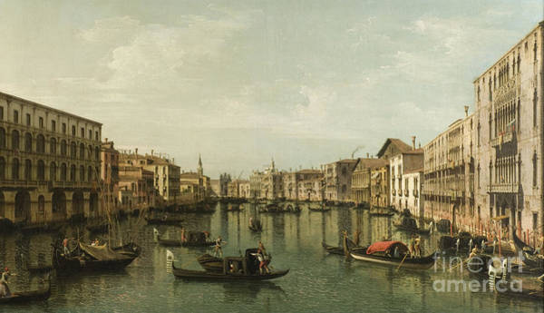 Wall Art - Painting - View Of Grand Canal With The Palazzi Foscari And Moro Lin by Bernardo Bellotto