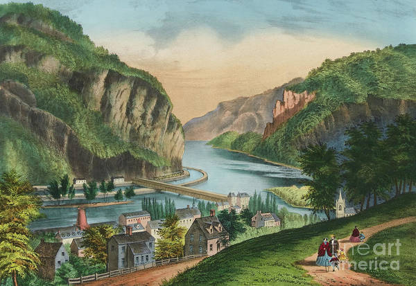 Currier And Ives Painting - View Of Harpers Ferry, Virginia by Currier and Ives