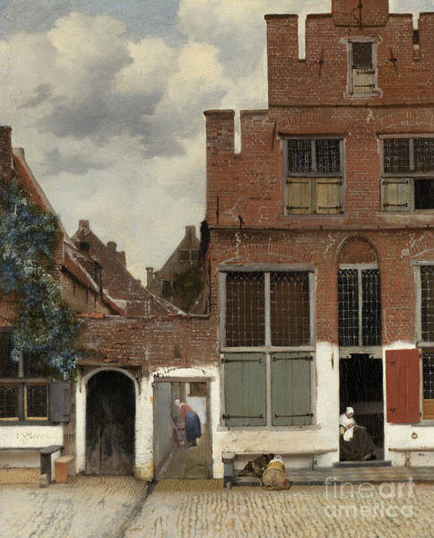 Wall Art - Painting - View Of Houses In Delft, Known As The Little Street by Jan Vermeer