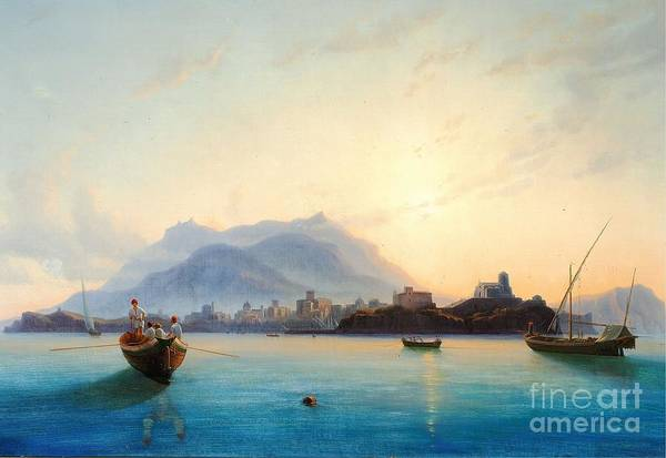 Painting - View Of Italy With Fishermen In Their Boats  by Celestial Images